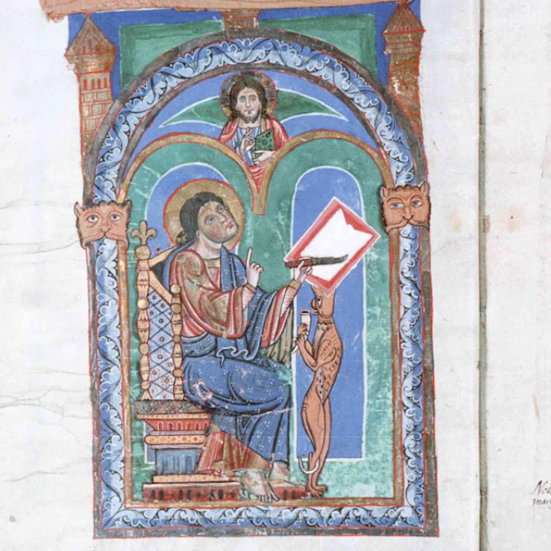 Saint Matthew from an 11th-c. gospel book at the Abbey of Saint Florian, Austria (Color microfilm of HMML 2227/ Codex III,1)