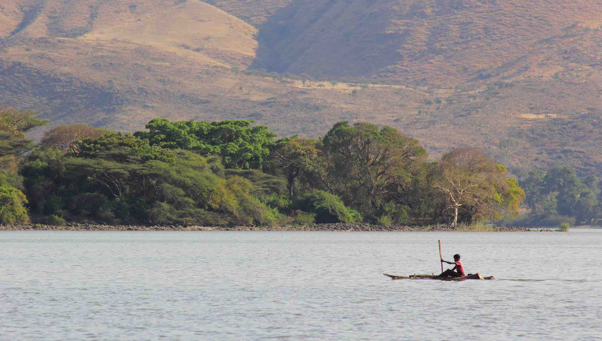 Crossing Lake Tana in the Amhara region of the Ethiopian highlands using a traditional reed boat