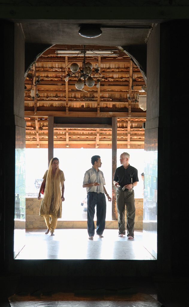 From left, Dr. Susan Thomas, Prof. István Perczel, and HMML Executive Director Fr. Columba Stewart, OSB, visit an historic church in Kerala