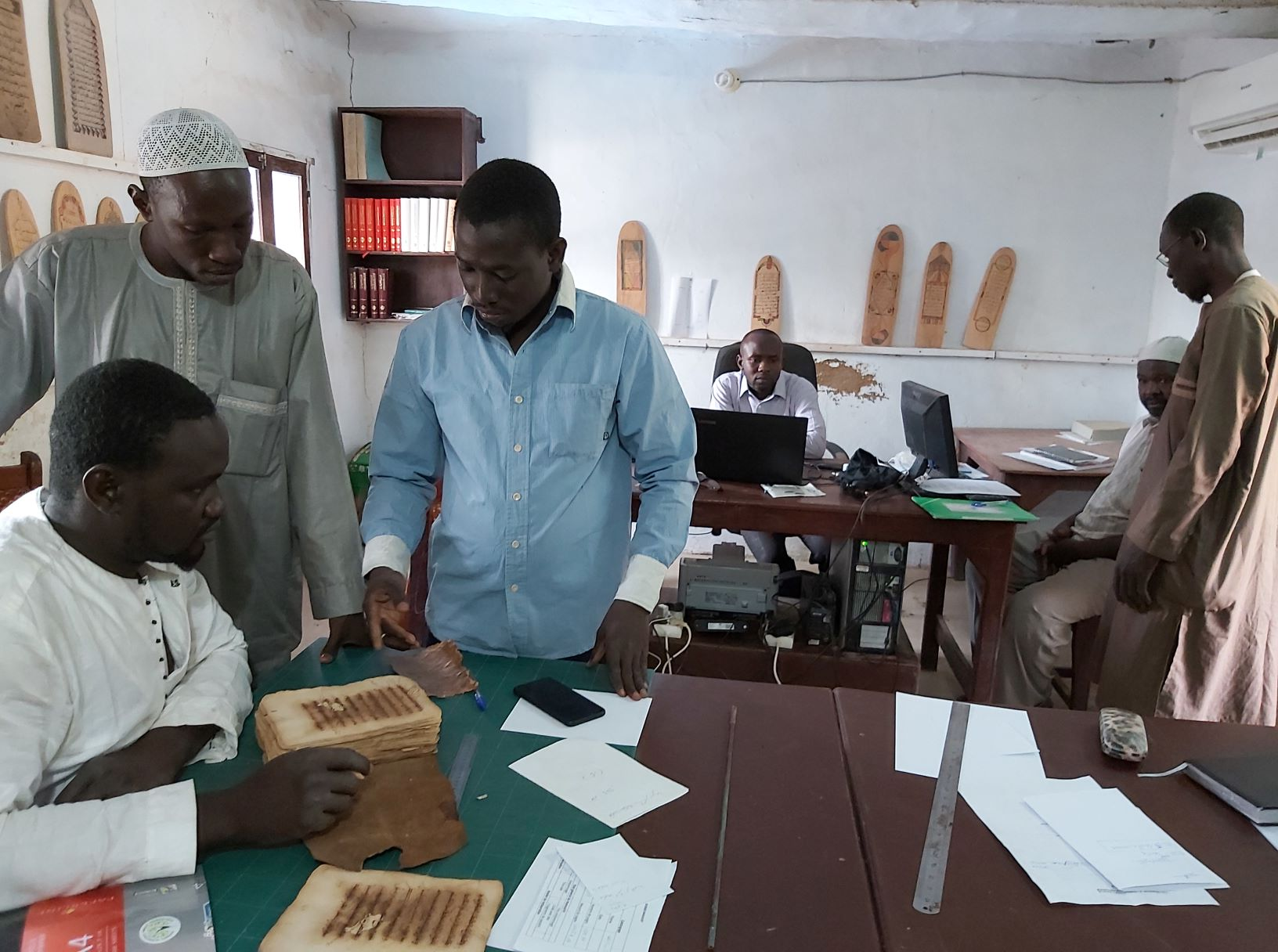 Technicians and archivists at the Djenné Manuscript Library
